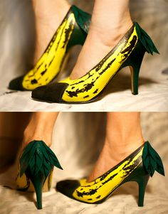 vintage shoes painted to look like bananas