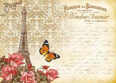 "If you want to print them in a bigger size than you can use ""posteriza"" (free. Vintage Paris, Shabby Vintage, Vintage Floral, Shabby Chic, Decoupage Vintage, Scrapbooking, Scrapbook Paper, Romantic Paris, Paris Romance"
