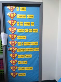 7 habits with superhero theme. Classroom door.