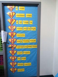7 habits with superhero theme. Classroom door.