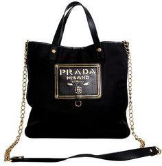 PRADA-Nylon-Tote-Strap-Gold-Lettering-Le-Black-Cross-Body-Bag-Large-Tessuto-Saffiano - Copy