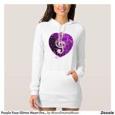 #PurpleFauxGlitterHeart #FrenchMusic #TrebleClef #WhiteHoodieDress by #MoonDreamsMusic #ValentinesDayStyle #MusicFashion Art by DigitalScraps