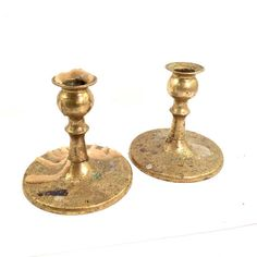 Pair Brass Candleholders pair with ornate etched brass design