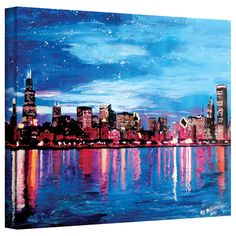 Martina Bleichner 'Chicago Skyline at Dusk' Gallery Wrapped Canvas | Overstock™ Shopping - Top Rated ArtWall Canvas