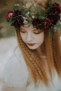 Bride with Crimped Hair & Flower Crown | Woodland Bohemian Luxe Inspiration | Lola Rose Photography & Film