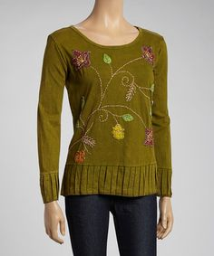 Take a look at this Green Embroidered Pleated Hem Top by Rising International on #zulily today!