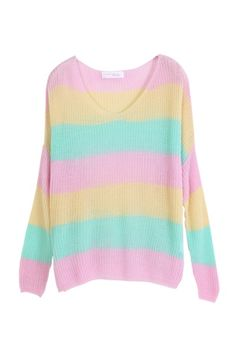 Pastel Color Block Sweater, iAnyWear