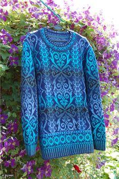 Aqua  Dásamlega falleg peysa Fair Isle Knitting Patterns, Knitting Machine Patterns, Knitting Stiches, Knitting Designs, Knit Patterns, Fendi Scarf, Crochet Wool, Knitwear Fashion, Knit Cardigan