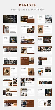 powerpoint BARISTA is coffee category presentation, but it can be used for any drink and beverages shop too, like Boba Tea and such. The idea is to introduce the product (coffee), the proc Web Design, Graphic Design Layouts, Slide Design, Brochure Design, Layout Design, Design Posters, Design Trends, Design Art, Design Ideas