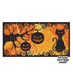 Halloween Cat and Pumpkins Cross Stitch by NewYorkNeedleworks