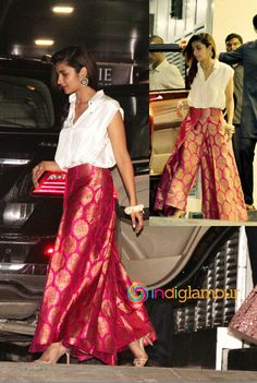 Modern styling for sharara Sari, Saree Dress, Salwar Designs, Blouse Designs, Indian Wedding Outfits, Indian Outfits, Indian Attire, Indian Wear, Pakistani Dresses