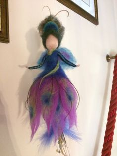 Needle felted Fairy, Waldorf inspired, Wool Fairy Peacock, Doll miniature, Home décor, Mobile, Gift, Art doll, Felting Peacock, Handmade
