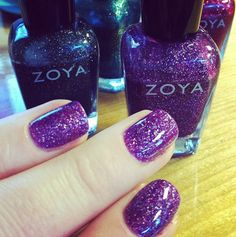 Aurora by Zoya can be best described as a full coverage, medium sugarplum purple flecked with a high concentration of micro fine diamond holographic glitter. Purple Nail Polish, Zoya Nail Polish, Be Your Own Kind Of Beautiful, Holographic Glitter, Cute Nail Designs, Beautiful Nail Art, Art Tips, Nail Arts, Beauty Nails
