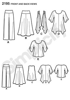 Simplicity pattern 2195: Misses' & Plus Size Sportswear tunic or top, pants, skirt and knit vest