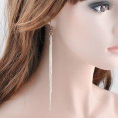 Elegante Schmuck Mode Frauen Edle Quasten Silber Überzogene Lange Haken Baumeln Ohrringe Frauen freies verschiffen