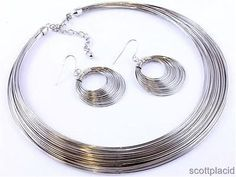 Chunky Silver Chain Choker Collar Earring Necklace Set Fashion Costume Jewelry