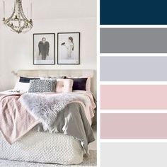 15 Best Color Schemes for Your Bedroom – blush pink and grey color inspiration #color #bedroom #colorpalette