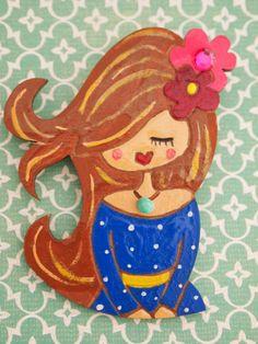 Muñecas con mucha personalidad,pintadas a  mano.