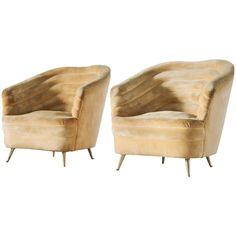 Andrea Busiri Vici Set of Two Easy Chairs in Yellow Velvet