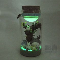 Made totoro wishing bottle star bottle luminous sand polymer clay diy birthday gift  creative gift