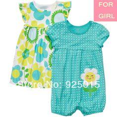 Bebé 2 peças de Carter Original Romper & Vestido Set Impressão Flor , Carter Roupa Outfit terno, In Store , YW