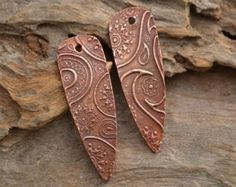 Hollow Copper Snakeskin Bead Pair 1 pair by KristiBowmanDesign