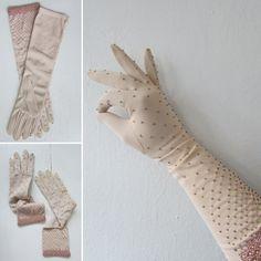 1950s dress gloves   vintage 50s dress glove   vintage long dress gloves   beaded champagne gloves   size 6 1/2   The Golden Glow Gloves by VivianVintage8 on Etsy
