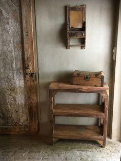 Oud houten schap rek Schoenenrek kastje planken keukenrek kast planken landelijk bakkersrek broodrek boerenkeuken winkelkast keukenkast | - Meubels & decoratie | 't Jagershuis