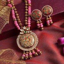 Sia Pink & Golden Motis Necklace Set