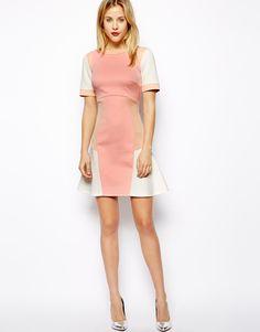 Image 4 ofASOS Colourblock Peplum Dress
