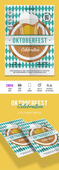Oktoberfest Flyer Template PSD, AI Illustrator