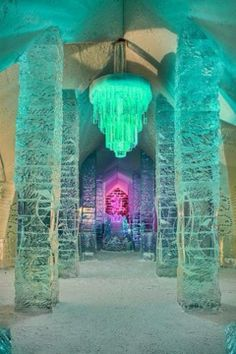 Very cool Ice Hotel in Quebec! #winter #lights #led