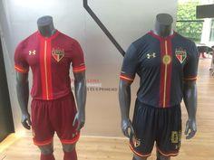 Esses são os modelos das novas camisas do São Paulo. Esquerda de linha 4e670627b95a2