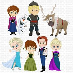 Frozen Clip Art Set Frozen inspired Characters Clipart - Elsa, Anna, Kristoff, Sven, Olaf and Prince Hans  (personal or commercial use)
