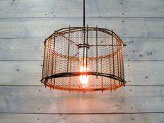 Colgante rústico luz 12 diámetro con jaula de acero