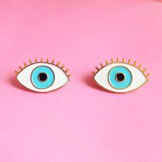 Lucky Blue Eye Enamel pin Eye brooch Evil Eye by CoucouSuzette