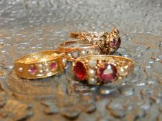 Georgian Rings, Solid Hallmarked Gold, Seed Pearl, & Garnet old hand cut mined, circa Georgian Era, Rings N Things, Old Hands, Class Ring, Garnet, Brooch, Pearls, Trending Outfits, Antiques