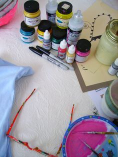 All you need are Fabric Paints and a sketch to do Art on your clothing!!