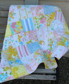 Handmade patchwork baby quilt - pink, yellow, orange, blue vintage sheets