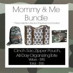 Thirty-One Gifts - September Customer Special.  Mommy and Me! #ThirtyOneGifts #ThirtyOne #Monogramming #Organization #SeptemberSpecial #AllDayOrganizingTote #Totes