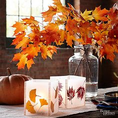 How to make rustic leaf lanterns. Such a beautiful and simple DIY idea for fall and Thanksgiving!