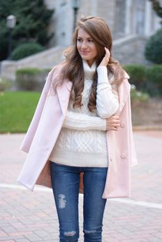 Blush pink coat | Southern Curls & Pearls