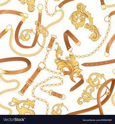 Elephant Tapestry, Fashion Fabric, Baroque, Adobe Illustrator, Fabric Design, Chains, Belts, Vector Free, Design Inspiration