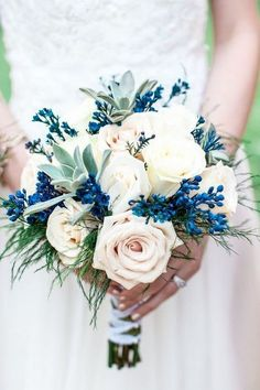 blush and blue unique wedding bouquet