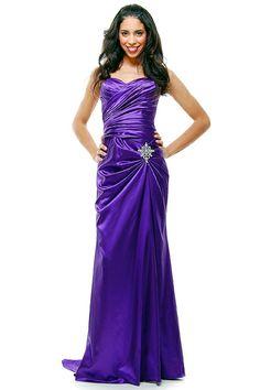 satin rhinestone formal prom dresses   Cheap Elegant Purple Satin Pleated Strapless Rhinestone Prom Dress ...