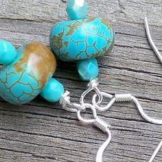 Karnie  Chunky Turquoise Gemstone Beaded Silver Dangle by Tessyla, $18.50