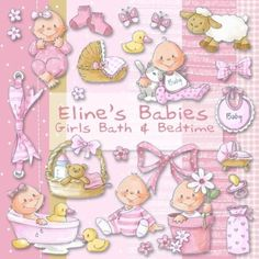 Eline's Digital ClipArt Set – Baby Girls Bath & Bedtime Cute Little Baby Girl, Little Babies, Baby Love, Baby Shawer, Baby Art, Baby Gift Hampers, Baby Bedtime, Baby Illustration, Decoupage