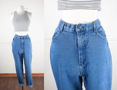 1980s High Waisted Skinny Jeans / Stretch Denim Jeans / Vintage 80s Jeans / Denim Leggings / Tight Jeans / 1990s Mom Jeans / Tight Pants by BlueHorizonVintage on Etsy