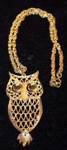 Vintage Gold Tone Owl Women's Necklace Chain Link