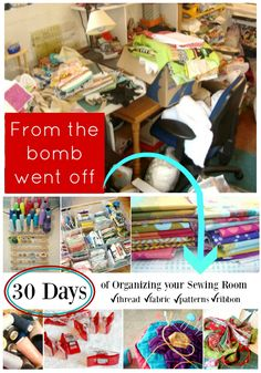 30 Days of Sewing Room Organizing - each day there is something new to help you out!